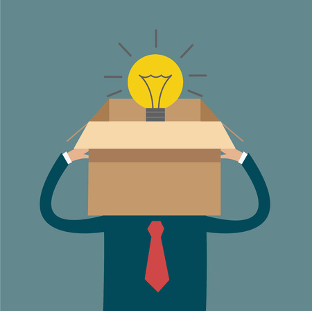 constraints: man thinking out of box light bulb vector Illustration