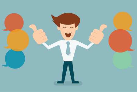 feed back: Businessman like, thumbs up with bubble speechs concept of feed back vector