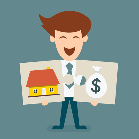 adversity: Business man holding jigsaw of house and money concept of success