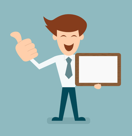 business men with white board and thump up vector Vector