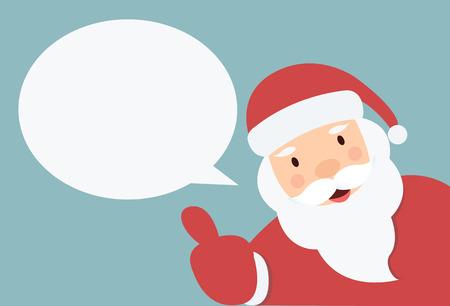 viejito pascuero: Pap� Noel con bocadillo y mano thump up vector