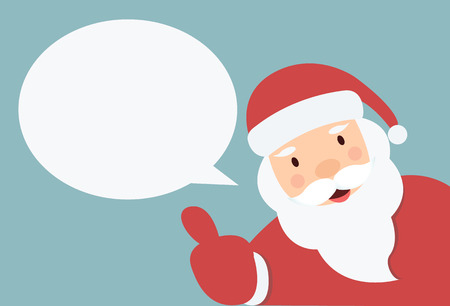 Santa Claus with speech bubble  and hand thump up vector Vector