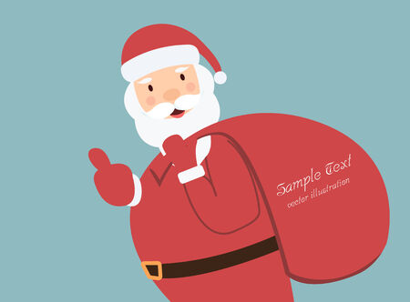 santa claus with a bag of gifts for copy space vector  Vector