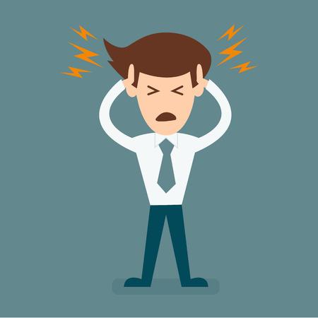 cartoon businessman headache  イラスト・ベクター素材