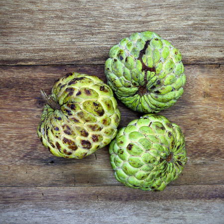 custard apple fruit: Custard apple fruit on the wood table