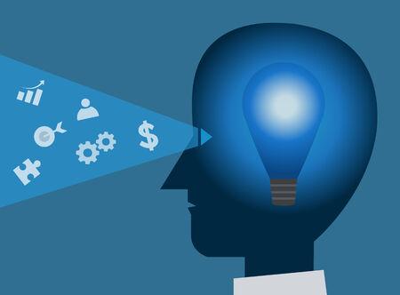head light: head light bulb business vision vector illustration Illustration