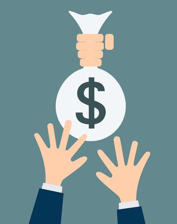 hand holding money bag: Human hand holding money bag on business man hand vector illustration