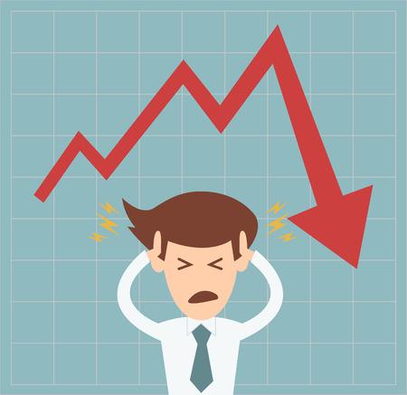 Hombre de negocios en crisis de gráfico cayendo concepto ilustración vectorial Ilustración de vector