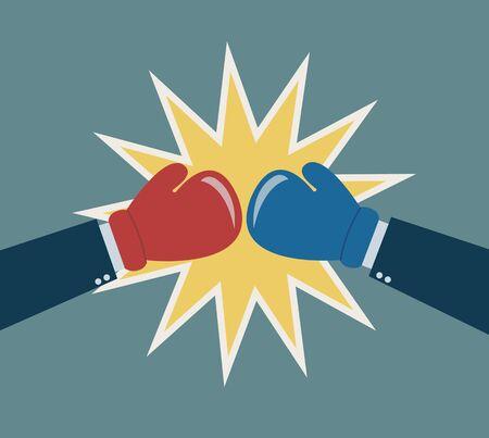 guantes: manos guante de boxeo concepto de lucha de negocios Vectores