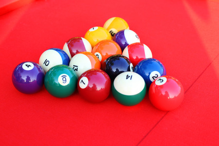 pool game: Billards pool game. Color balls in triangle on Red cloth table
