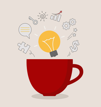 growth hot: red coffee cup with light bulb idea business inspiration illustration Illustration