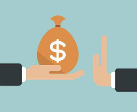 Zakenman de hand weigert de aangeboden steekpenningen geldbuidel vector illustratie Stockfoto - 39478334