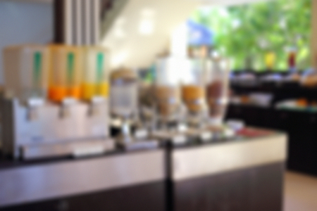 salad buffet: Abstract of blurred breakfast buffet in hotel