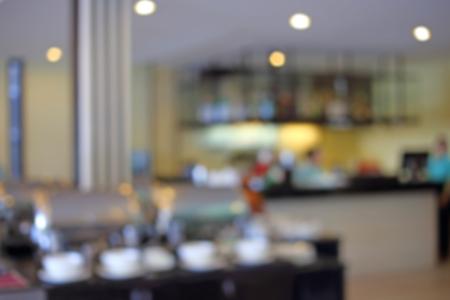 breakfast restaurant: Abstract of blurred breakfast buffet in hotel