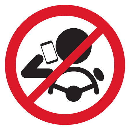 mobile cartoon: No Smartphone when drive Sign vector illustration Illustration