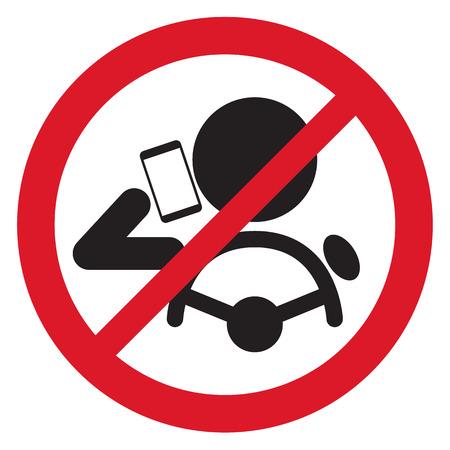 cartoon accident: No Smartphone when drive Sign vector illustration Illustration
