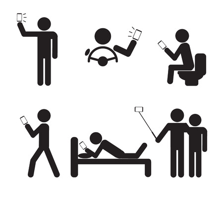 using smart phone: Man People using Smartphone vector illustration