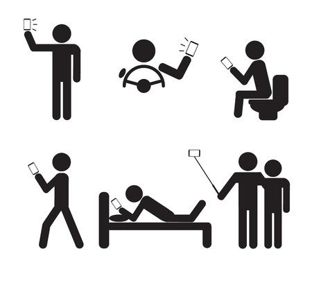 strichmännchen: Mann Menschen mit Smartphone Vektor-Illustration