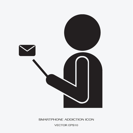 person computer: man holding smartphone with email icon