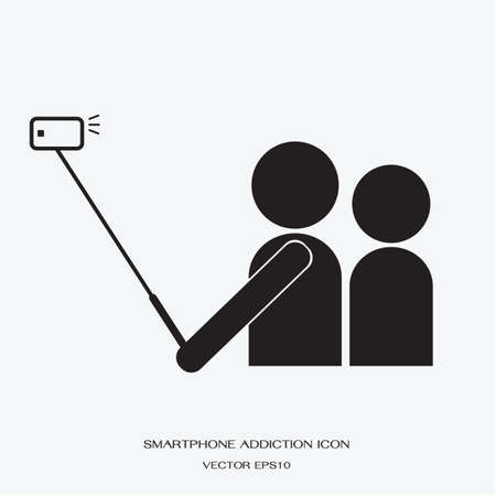 using smartphone: icon people using smartphone take a self photo by selfie stick