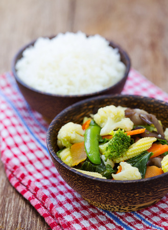 stir fried: Stream rice with stir fried mixed vegetable