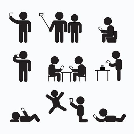strichmännchen: Addiction Obsession Mit Smartphone-Strichmännchen-Icon-Piktogramm