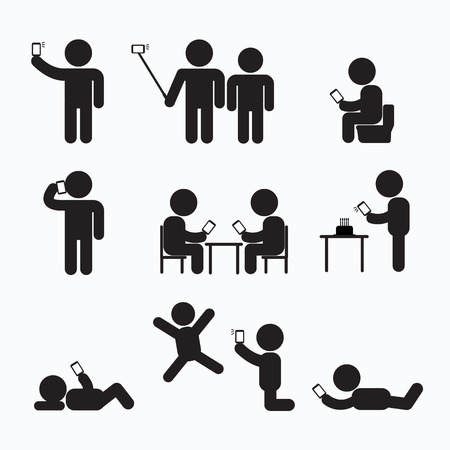 using smartphone: Addiction Obsession Using Smartphone Stick Figure Pictogram Icon
