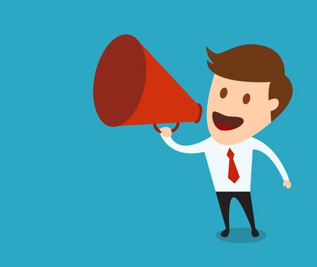 megafono: hombre de negocios con un megáfono, concepto de negocio ilustración vectorial