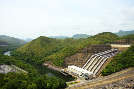 hydro electric power station: The power station at the Srinakarin Dam in Thailand Stock Photo