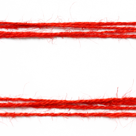 red: String red as frame on white background
