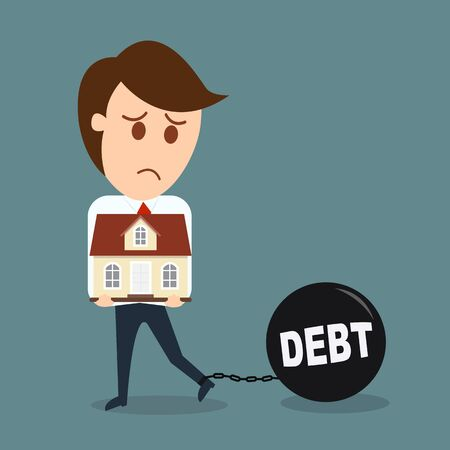 arrears: Business man hold house, Debt concept vector Illustration
