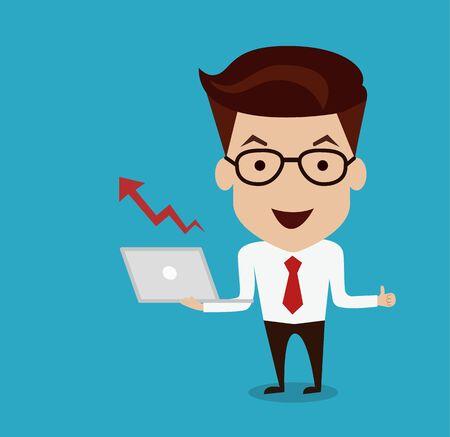 increasing: Man hold Laptop with Increasing graph illustration