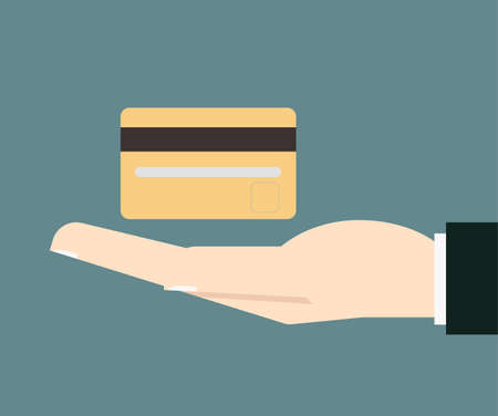 hold: businessman hand hold credit card vector