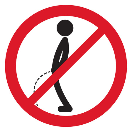 urinate: No peeing sign symbol vector