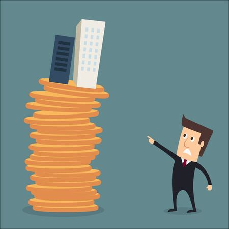 business risk: man skyscraper tower blocks or condos on coins real estate investment concept vector