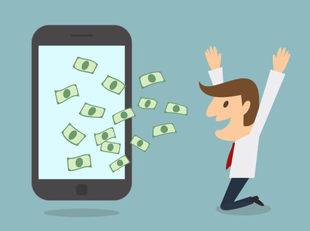 earn money: business man earn money from smart phone online business concept