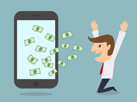 online business: business man earn money from smart phone online business concept