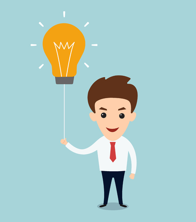 young business man: young business man hold lightbulb balloon concept of get idea