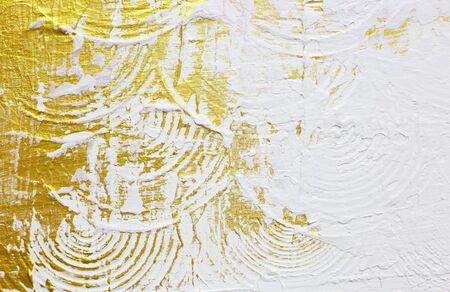pintura abstracta: textured oro pintura abstracta en el fondo blanco