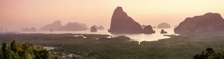nang: panorama view of limestone mountain and phangnga bay andaman sea south of thailand call samed nang she Stock Photo