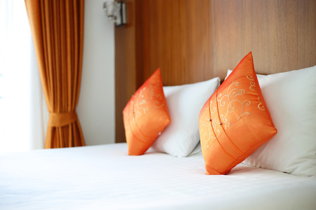 bedsheets: Bed, pillows in resort room