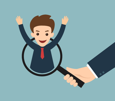 notifying: business man hand holding magnifying glass for search a man. Recruitment or selection concept. Illustration