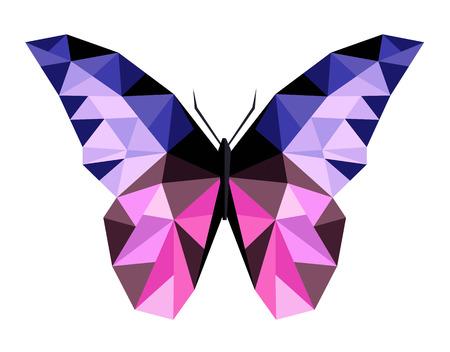 추상 다각형 나비 낮은 폴 리 일러스트 레이 션.