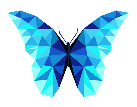 Abstract polygonal butterfly low poly illustration.