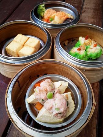 shu: dim sum in bamboo steamer, chinese cuisine Stock Photo
