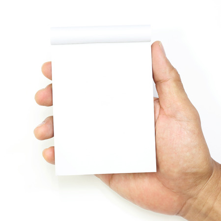 two page spread: hand hold a empty(blank) note book on white background Stock Photo