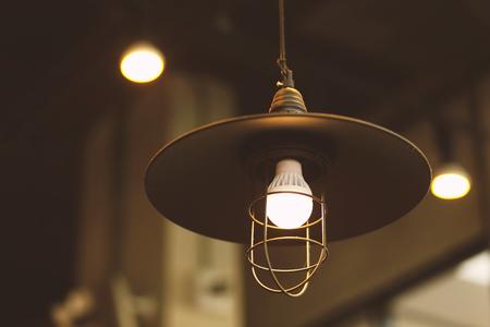 electrolier: vintage lamp light in cafe retro filter Stock Photo