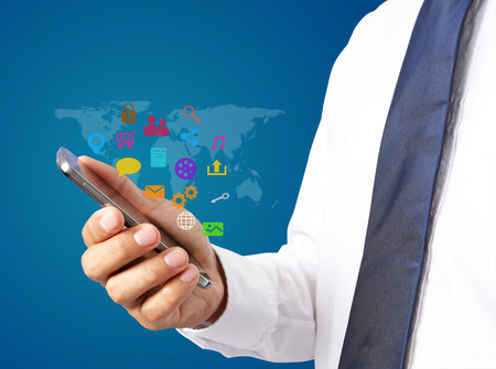 business man hold smartphone with social media icon