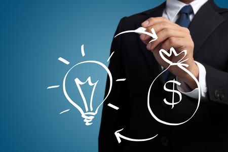 man hand-drawn light bulbs and money bag on a virtual interface 写真素材