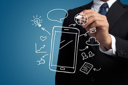 smartphone business: business man hand draw smartphone and social media icon